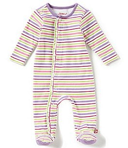 Image of Zutano Baby Girls Newborn-9 Months Striped Footed Coverall