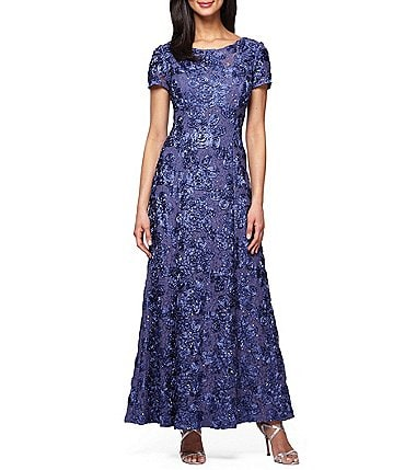 Image of Alex Evenings Petite Sequined-Lace Rosette-Rose Gown