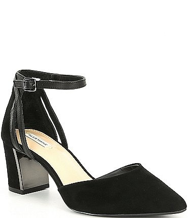 Image of Alex Marie Nelvin Suede Ankle-Strap Block Heel Pumps