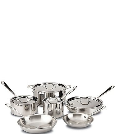 Image of All-Clad Three-Ply Stainless Steel 10-Piece Cookware Set