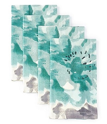 Image of Aman Imports Floral Watercolor Napkins, Set of 4