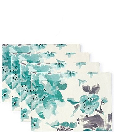 Image of Aman Imports Floral Watercolor Placemats, Set of 4