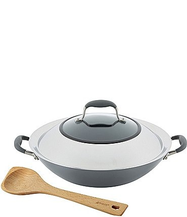 Image of Anolon Advanced Home Hard-Anodized Nonstick Wok with Side Handles and Wooden Spoon