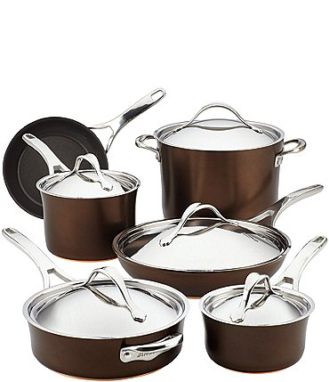 Image of Anolon Nouvelle Copper Luxe 11-Piece Hard-Anodized Nonstick Cookware Set