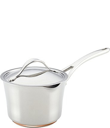 Image of Anolon Nouvelle Copper Stainless Steel 3.5-Quart Covered Straining Saucepan with Lid