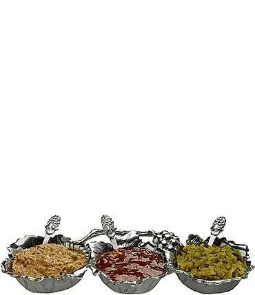 Image of Arthur Court Grape 3-Bowl Condiment Server with Serving Spoons