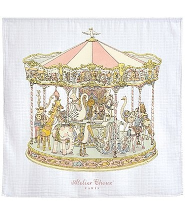 Image of Atelier Choux Paris Baby Carousel Swaddle Blanket with Gift Box