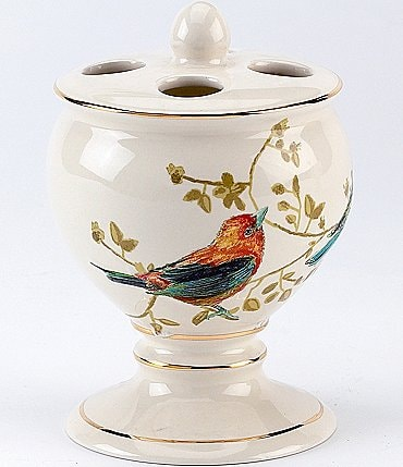 Image of Avanti Linens Gilded Birds Ceramic Toothbrush Holder