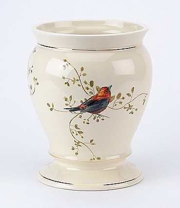 Image of Avanti Linens Gilded Birds Ceramic Wastebasket