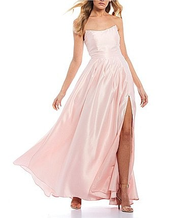 Image of B. Darlin Strapless Point Neckline High Side Slit Satin Long Dress