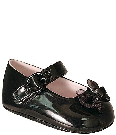 Image of Baby Deer Black Vinyl Skimmers Crib Shoes