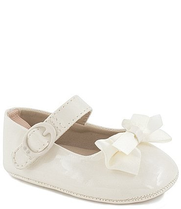 Image of Baby Deer Baby Girls' White Patent Skimmer Crib Shoes