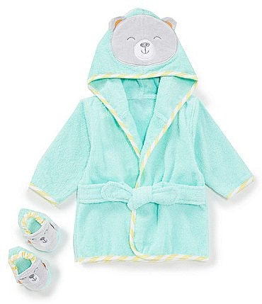 Image of Baby Starters Baby Boys Newborn-9 Months Bear Robe & Slippers Bath Set
