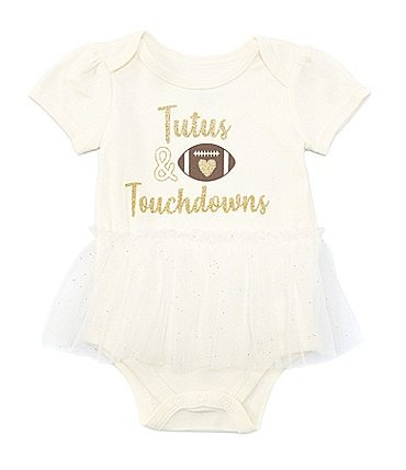 Image of Baby Starters Baby Girl 3-12 Months Short Sleeve Touchdown Tutu Bodysuit