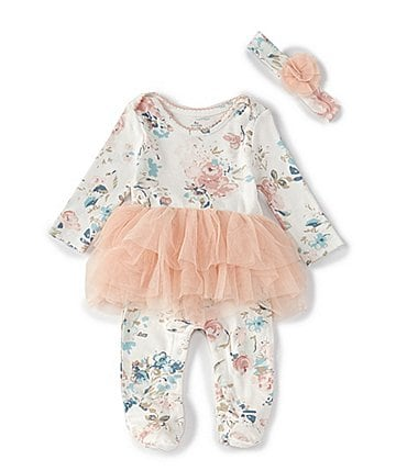Image of Baby Starters Baby Girl Newborn-9 Month Floral Tutu Footie