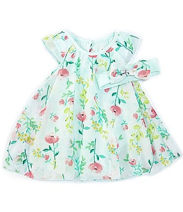 Image of Baby Starters Baby Girls 3-12 Months Floral Chiffon 2-Piece Dress Bodysuit
