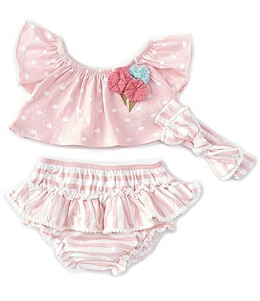 Image of Baby Starters Baby Girls 3-24 Months Polka-Dot Swing Top & Striped Skirted Bloomer Set