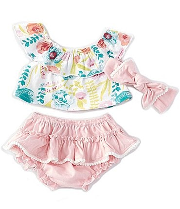 Image of Baby Starters Baby Girls 3-24 Months Ruffled Floral Top & Skirted Bloomer Set