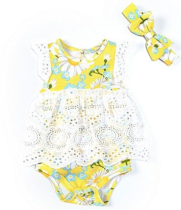 Image of Baby Starters Baby Girls 3-9 Months Daisy Eyelet-Skirted Bodysuit