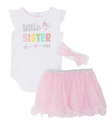 Image of Baby Starters Baby Girls Newborn-6 Months Little Sister Bodysuit, Tutu, & Headband Set