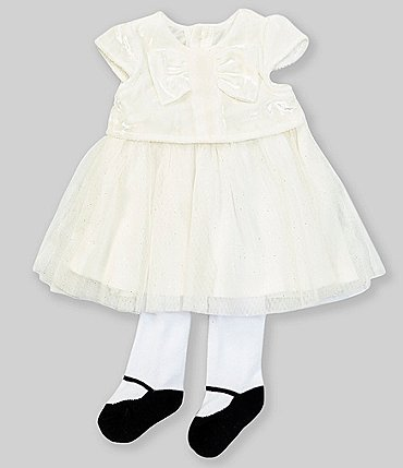 Image of Baby Starters Baby Girls Newborn-9 Months Bow-Front Tulle Fit-And-Flare Dress