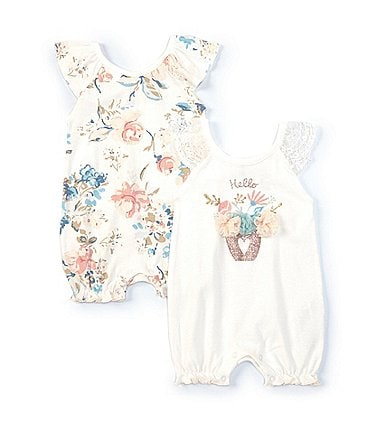 Image of Baby Starters Baby Girls Newborn-9 Months Cactus Flower Romper Two-Pack