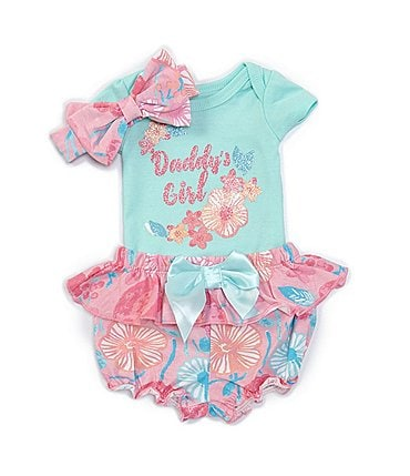 Image of Baby Starters Baby Girls Newborn-9 Months Short-Sleeve Daddy's Girl Bodysuit, Floral Panty & Headband Set