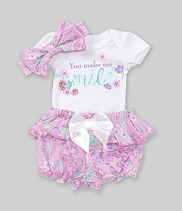 Image of Baby Starters Baby Girls Newborn-9 Months Short-Sleeve Smile Bodysuit, Floral Panty & Headband Set
