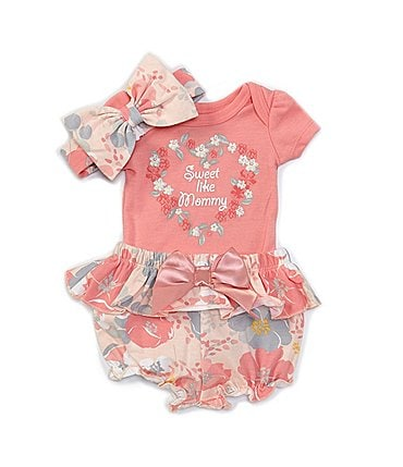 Image of Baby Starters Baby Girls Newborn-9 Months Short-Sleeve Sweet Like Mommy Bodysuit, Floral Panty & Headband Set