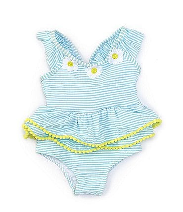Image of Baby Starters Baby Girls 3-24 Months Daisy-Appliqued Striped Seersucker One-Piece Swimsuit