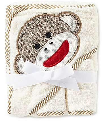 Image of Baby Starters Baby Sock Monkey Appliqued Hooded Terrycloth Towel & Washcloth Set