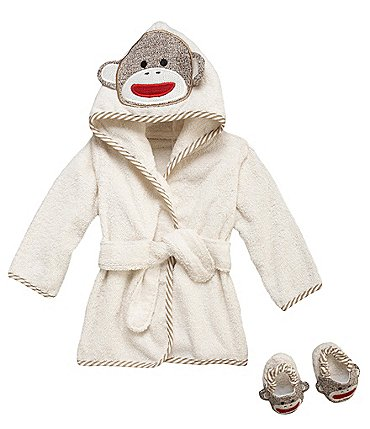 Image of Baby Starters Baby Sock Monkey Hooded Bath Robe & Slippers Set