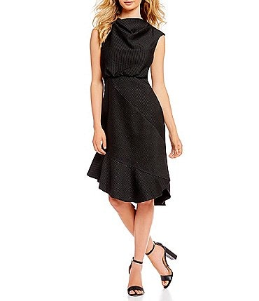 Image of Belle Badgley Mischka Cowl Neck Pinstripe Blouson Midi Dress