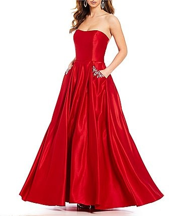 Image of Blondie Nites Strapless Beaded-Pocket Satin Ball Gown