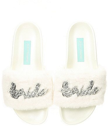 Image of Blue by Betsey Johnson Alice Faux-Fur Bridal Slides