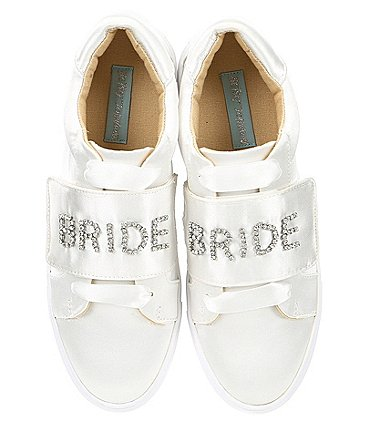 Image of Blue by Betsey Johnson Liana Satin Jeweled Bride Sneakers