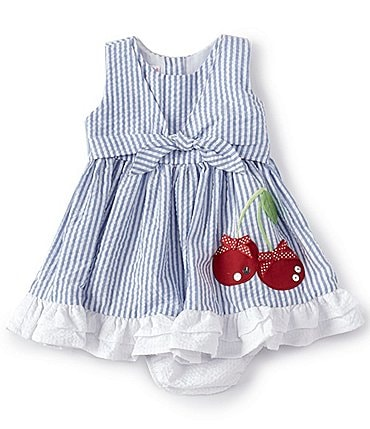Image of Bonnie Baby Baby Girls Newborn-24 Months Cherry-Appliqued Striped Seersucker Fit-And-Flare Dress