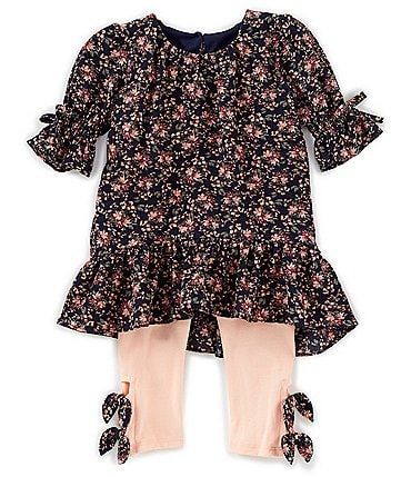 Image of Bonnie Jean Baby Girls 12-24 Months Floral Crepe Drop-Waist Dress & Solid Knit Leggings Set