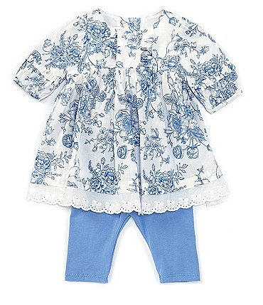 Image of Bonnie Jean Baby Girls Newborn-24 Months Floral Lawn A-Line Dress & Leggings Set