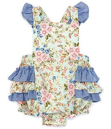 Image of Bonnie Jean Baby Girls Newborn-24 Months Flutter-Sleeve Floral/Chambray Bodysuit