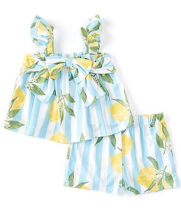 Image of Bonnie Jean Baby Girls Newborn-24 Months Flutter-Sleeve Striped/Lemon Top & Shorts Matching Set