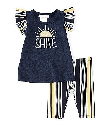 Image of Bonnie Jean Baby Girls Newborn-24 Months Short-Sleeve Shine Graphic Tee & Striped Capri Leggings Set