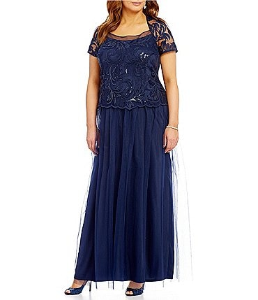 Image of Brianna Plus Square Neck Short-Sleeve Sequined-Bodice Gown