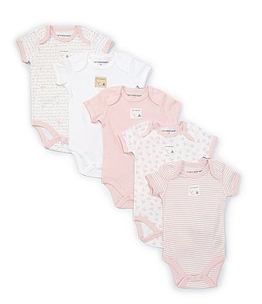 Image of Burt's Bees Baby 3-12 Months Short-Sleeve Solid/Printed 5-Pack Bodysuits