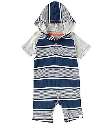 Image of Burt's Bees Baby Boys 12-24 Months Short-Sleeve Variegated-Stripe Hooded Shortall