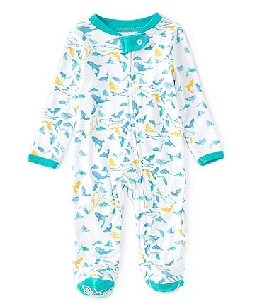 Image of Burt's Bees Baby Boys Newborn-9 Months Long-Sleeve Shark Attack Sleep & Play Footed Coverall