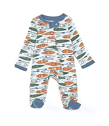 Image of Burt's Bees Baby Boys Newborn-9 Months Long-Sleeve Without A Paddle Footed Coverall