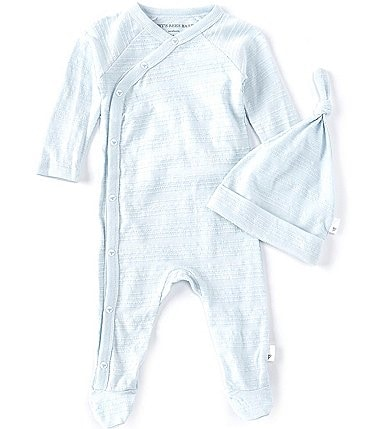 Image of Burt's Bees Baby Boys Preemie-9 Months Long-Sleeve Striped Footed Coverall & Hat