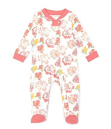 Image of Burt's Bees Baby Girls Newborn-9 Months Rosy Spring Sleep & Play Footed Coverall
