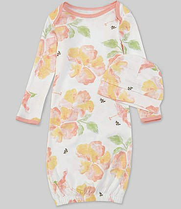 Image of Burt's Bees Baby Girls Newborn Long-Sleeve Sunburst Floral Gown & Hat Set